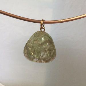 Czech Green Crackle Glass Pendant